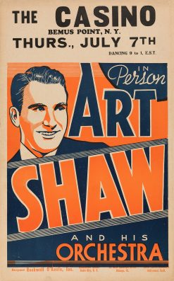Art Shaw at The Casino Concert Poster 1938 14x22.5