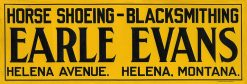 EARLE EVANS HORSE SHOEING BLACKSMITHING